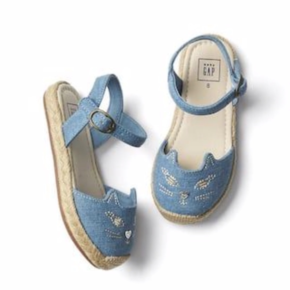 GAP Other - Gap girls blue espadrilles with cat face design.